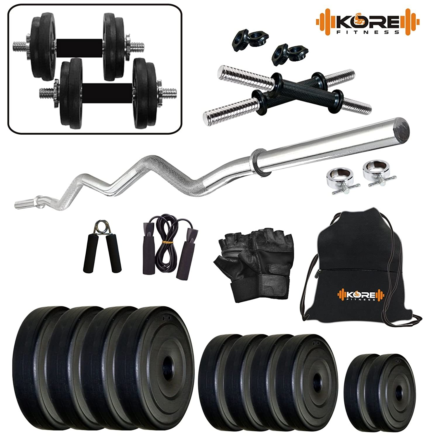 Kore K-PVC 10kg Combo 3 Leather Home Gym and Fitness Kit